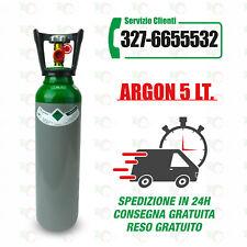 Bombola Argon da 5 Litri, nuova, completa di carica.
