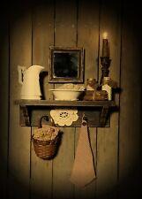 Primitive Gathering Shelf~Pitcher~Bowl~Basket~Soap~Jars~BathSalt~Towel~Candles