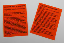 4 x Orange laminated geocache instructions for muggles.  Geocaching.  Cache  GPS