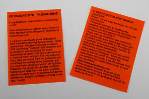 6 x Orange laminated geocache instructions for muggles.  Geocaching.  Cache  GPS