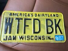 """VINTAGE WTFDBK 80's WISCONSIN LICENSE PLATE """"WTFD BK"""" VANITY AMERICA'S DAIRYLAND"""