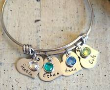 Hand stamped Name Birthstone 2 bar pendant charm Custom Personalized Necklace