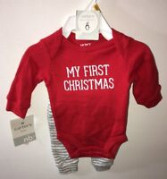 CARTER'S Red 2 Piece Bodysuit Pants Newborn BABY My First Christmas