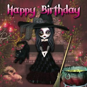 Happy Birthday Card cute witch with black cat, skulls, broom and cauldron