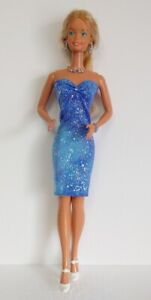 "Fits SUPERSIZE BARBIE Doll Clothes Blue DRESS and JEWELRY 18"" HM NO DOLL d4e"