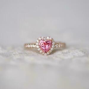 1.80Ct Heart Cut Pink Sapphire Diamond Engagement Halo Ring 14K Rose Gold Finish