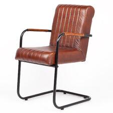 Freischwinger KANJA Leder│Metall Sombre-Brown Designer Armlehnenstuhl Vintage