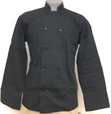 10 Button Long Sleeve Mesh Back Unisex Chef Coat Jacket Small Black New All Star