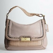 COACH KRISTIN SPECTATOR LEATHER FLAP Pink Grey Animal Gold Shoulder Bag 16789