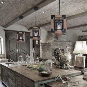 Modern Farmhouse Chandelier Light Fixture Ceiling Pendant Lamp Rustic Wood Black