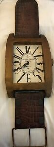 Wrist Watch Style Wall Clock Wood & Metal Vintage Look Home Decor GLOBAL Ship!