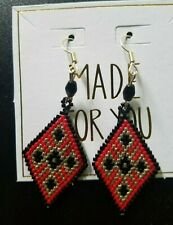 Handmade Elegant Black Red Gold Diamond Shaped Glass Bead Earrings