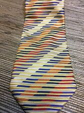 Altea Milano Silk Neck Tie Blue Red Champagne Gold Stripe