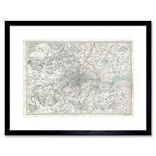 Map Illustrated Antique Sduk London Framed Wall Art Print
