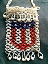 Antique Native American Flag Shield Beaded Purse Iroquois