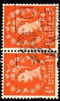 1958 Sg570 ½d Orange Red White Paper Watermark Crown Sideways Right (S5b) Used