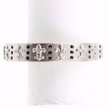Sisi Amber Silver Black Rhinestone Fleur De Lis Bangle Bracelet /BJ23