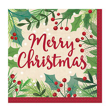 16 x Merry Christmas Holly Paper Napkins Buffet Traditional Christmas Tableware