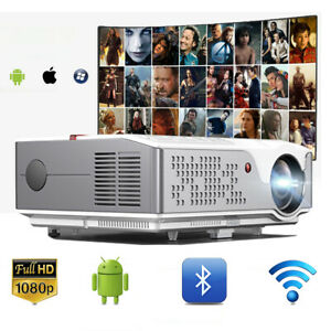 6000 Lumen 1080P Android Projector WIFI Bluetooth 4K Home Theater 4 Smartphone