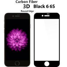 Nuevo 3D Negro Protector de pantalla de vidrio templado de fibra de carbono para Apple iPhone 6 6S