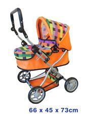 Doll's Deluxe Stroller Pram w/ Hood & Basket Kids Role Play Toy for Boys Girls