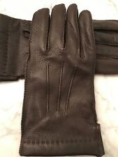 Mens large Brown Leather / Cashmere Portalano Gloves. NWOT.
