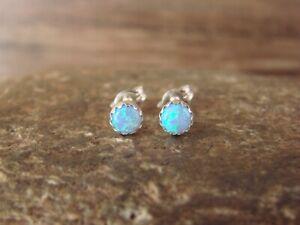 Native American Sterling Silver Blue Ice Opal Dot Post Earrings! Navajo Indian