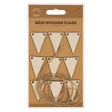 9 x mini en bois Drapeaux & 1 M ficelle de jute Arts Artisanat Fabrication Carte Scrapbooking UK