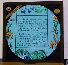 Antique Glass Slide Religious Verse Luke 15 18,19 O' Lord correct me