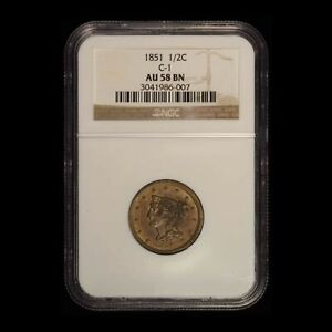 1851 1/2c C-1 Braided Hair Half Cent NGC AU58 BN - Free Shipping USA