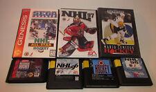 LET'S PLAY HOCKEY! Lot of 7 Sega Genesis CIB NHL 95,96,97 ESPN, Mario Lemieux ++