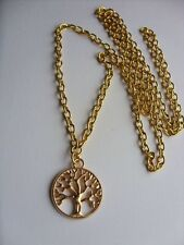 "A Round Tree of Life Gold Tone Charm Pendant, Long ( 30"" ) Chain Necklace"