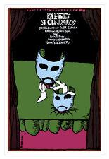 Cuban decor Graphic Design movie Poster on cardboard.THEATER Masks.Drama art