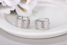 Shiny Solid 925 Sterling Silver Hoop Circle Huggie Cubic Zirconia Earrings Gift