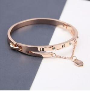 Fashion New Rose Gold Plated Stainless Steel Bangle Bracelet Heart Chain Love