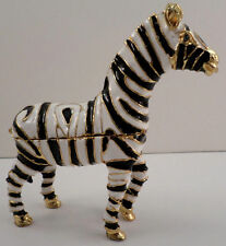 Zebra Black And White Stripes Zoo Animal Qifu Collectible Hinged Trinket Box