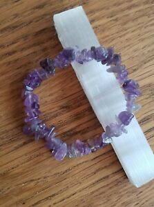 Super Charged Amethyst Chip Stretchy Bracelet with SELENITE WAND, Magic, Reiki!