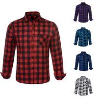 2019 Autumn Casual Men's Plaid Printed Shirts Long Sleeve Slim Fit Shirts M-XXL