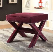 Wine Red Velvet Upholstered Ottoman with Nailhead Trim by Coaster 500417