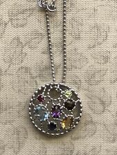 Multi Gemstone Sterling Silver Necklace Circle Pendant