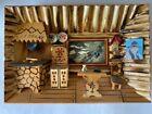 Vintage Folk Art Carved Wood Diorama Shadow Box Cabin/Cottage Wall Hanging