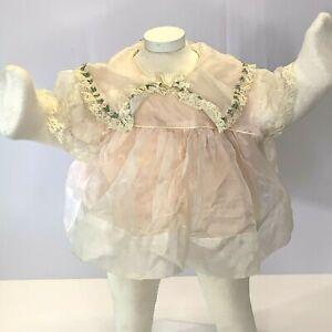 Vintage Infant Baby Doll Circle Dress Slip 3-6m White Pink Sheer Embroidered