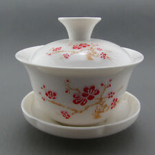 Relief Blooming Red Wintersweet Gaiwan Quick Gongfu Tea Cup Covered Bowl 110ml
