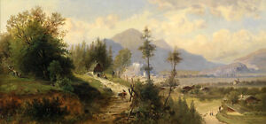 """Oil painting sunset summer landscape low price for sell don't miss it 24""""x72"""""""