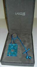 Authentic $395 LALIQUE Aqua Blue Deco Font Letter Crystal Pendant Necklace NIB
