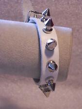 New Metal Spike Studded White Leather Bracelet Psychobilly Punk Wristband Cuff