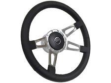 1968 - 1973 Ford Cougar Black Leather Steering Wheel Kit | Quad Slotted Spoke