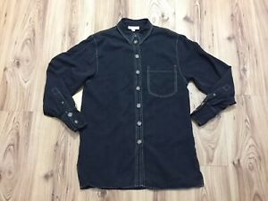 Topshop Woman's Black Grey Lyocell Button Blouse Pocket Shirt Size UK 8 STAINED