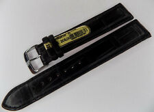 New Di-Modell Black Genuine Alligator 20mm EXTRA LONG Watch Band Silver Buckle