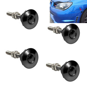 4Pcs Push Button Quick Release Car Hood Bonnet Latch Pin Lock Bumper Clip Black